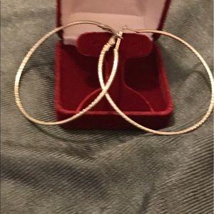 3 inch silver rope design earrings