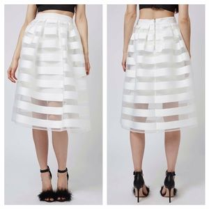 Topshop Sheer Stripe Midi Skirt