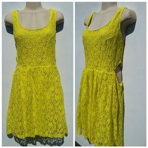 Ecko Unlimited Dresses & Skirts - NWOT! NEON YELLOW LACE CUT OUT DRESS SZ L