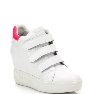 Ash Shoes - Ash Pink Avedon Leather High-top Wedge Sneakers