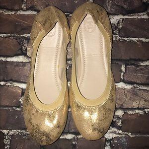 Ollio Shoes - OLLIO~Multi Gold Comfort Ballet Flats Shoes~so 10