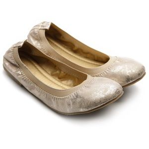 Ollio Shoes - OLLIO~Multi Gold Comfort Ballet Flats Shoes~so 10