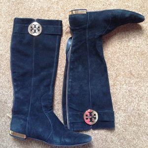Tory Burch Black Suede boots Sz 8