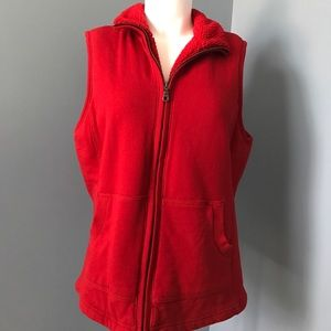 Coldwater Creek Red Vest size large zipper front