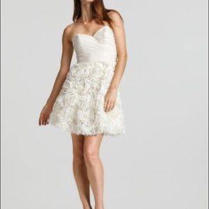 Sweetheart strapless dress with rosette skirt