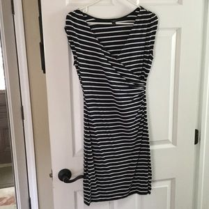 Ann Taylor Dresses & Skirts - Navy and White stripe wrap style dress