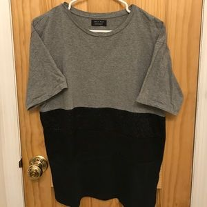 Zara Man Gray and Black Short Sleeved T-Shirt