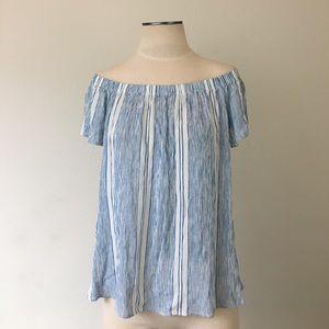 bobeau Tops - Bobeau- Blue/White Stripe Off Shoulder Top SZ M