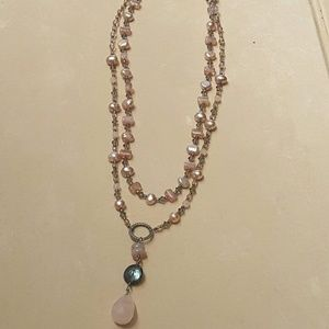 Beaded double strand necklace.