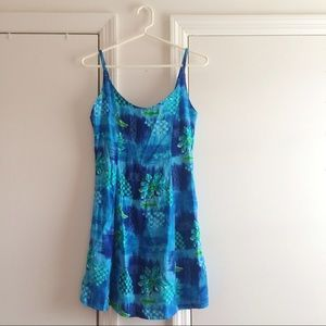 Vintage Blue Floral Mini Summer Dress