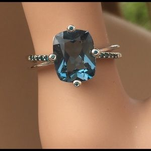 London blue and blue diamond accents ring 10k wg 7
