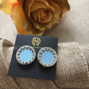 House of Harlow 1960 Jewelry - 🆕 HoH 1960 Ice Blue Sunburst Button Earrings