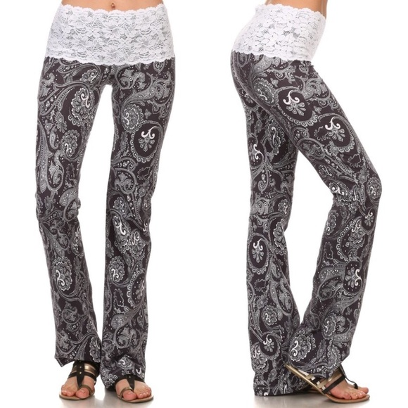 95b342328fed98 Chatoyant Pants | Lace Waist Yoga Boho Paisley Not See Through ...