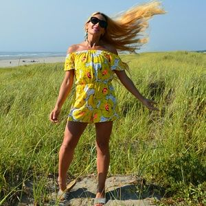 Pants - YELLOW FLORAL ROMPER