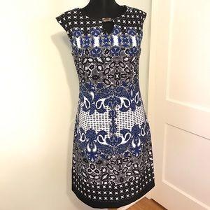Dresses & Skirts - Blue Black White Paisley Design Professional Dress