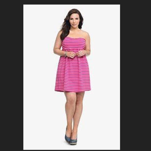 d77b0f7c59d TORRID Pink and Red Stripe Strapless Dress