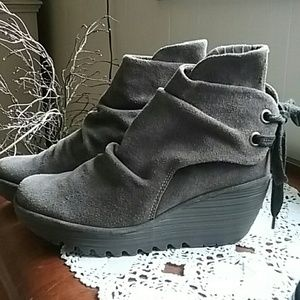 Fly London Shoes - Fly London Yama suede wedge booties