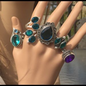 Jewelry - Various sterling silver with Topaz gemstone rings