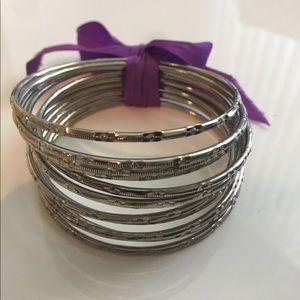 Jewelry - 12-Piece Silver Bangle Set