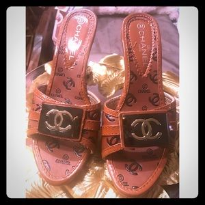 Chanel  Shoes - Rare !!Chanel Slide On Lucite Heel Sandals!!