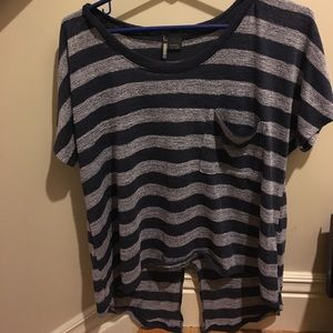 Striped knit tee with slit back