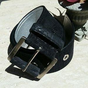 Via Spiga Accessories - VIA SPIGA Black Suede Embossed Belt EUC!