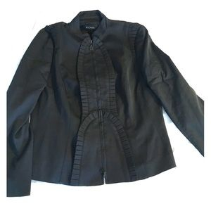 Escada black ruffled military style jacket sz42