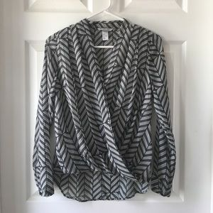 H&M sheer black and white blouse.