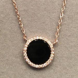 Other - 14k Rose gold/SS neckl.  1/3ctw diam.cut sapp/onyx