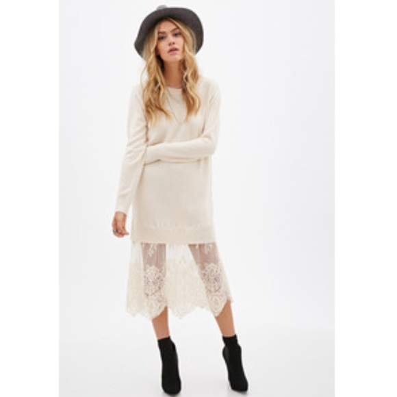 abda28cf474e Forever 21 Dresses & Skirts - FOREVER 21 • Blush Pink Lace/Knitted Sweater  Dress