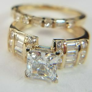 14k Solid Yellow Gold Engagement Ring&Wedding Band