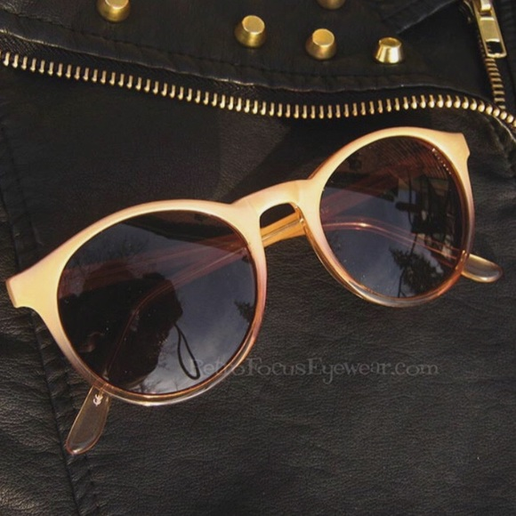 12a9e4744f4 NEW Round Sunglasses Panto Cream Amber Blonde Fade