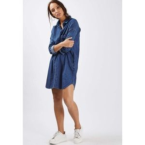 Topshop Dresses & Skirts - Topshop MOTO Denim Clean Blue Shirt Dress