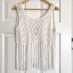 Tops - Crochet fringe crop top