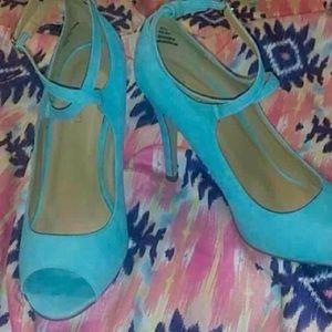 Tiffany Blue Suede Criss Cross Heels