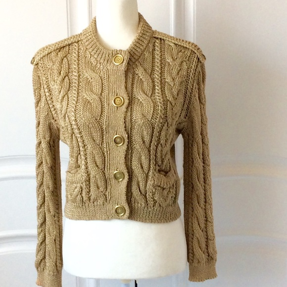 Burberry Sweaters - BURBERRY GOLD CABLE KNIT CARDIGAN SWEATER a4aea72bc