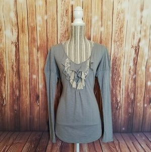 Decree Tops - Decree ▪ L/S Ruffle Front Knit Shirt ▪NEVER WORN▪