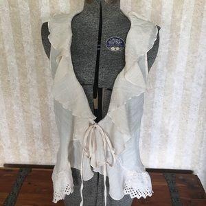 Adiva Tops - Sleeveless vest with eyelet trim.