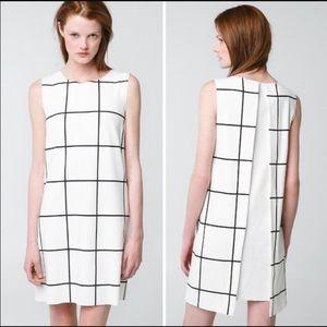 Mango MNG Grid check black and white shift dress