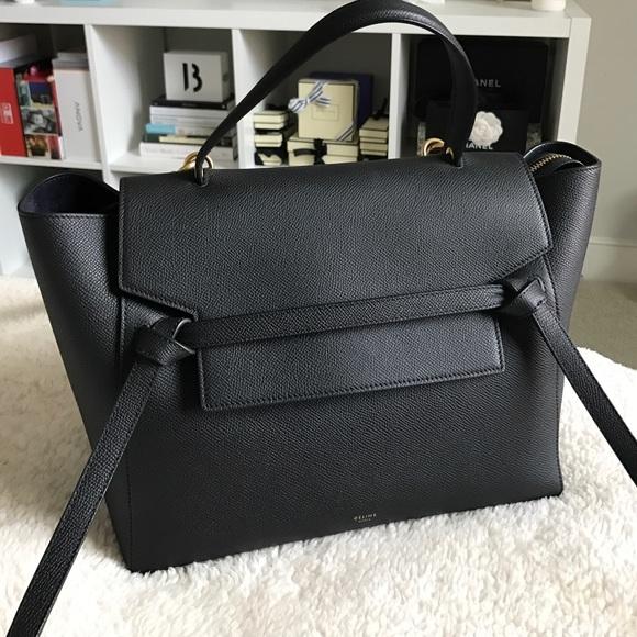 8ce925fbc5 Celine belt bag mini in black grained leather