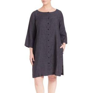 NWT Eileen Fisher Black Organic Linen Dress.