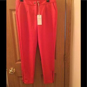 alice Moon Pants - Stretch soft Red Capri Pants with side Leg Zipper