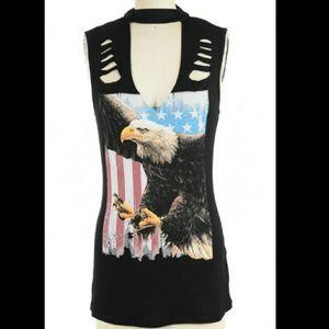 Tops - 🇺🇲 SALE!🇺🇲 Eagle Flag Slashed Top Medium Large