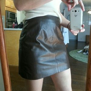 Vintage Dresses & Skirts - 90s Genuine brown leather mini skirt high waisted