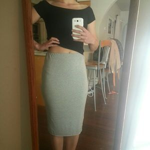 Vince Camuto Dresses & Skirts - Grey white micro stripe bodycon pencil skirt