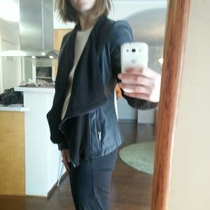 Olive & Oak Jackets & Blazers - Olive and Oak faux black leather drape jacket