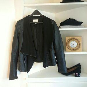 Olive & Oak Jackets & Blazers - Asymetric faux black leather drape jacket