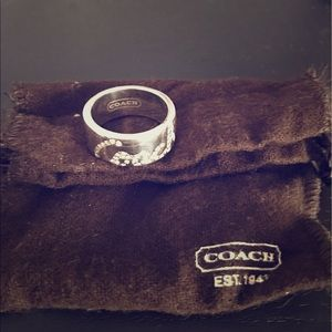 Coach Jewelry - COACH sterling silver thick ring with crystals