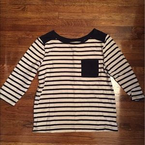 Black and cream stripes sweater 3/4 sleeves size L
