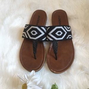 Soda Shoes - Soda boho tribal print flip flops